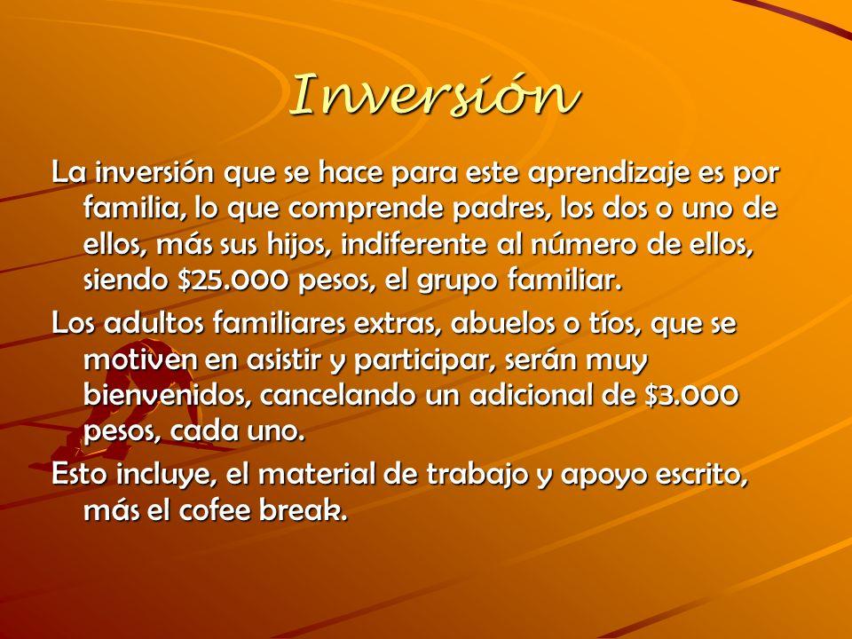 Inversión La inversión que se hace para este aprendizaje es por familia, lo que comprende padres, los dos o uno de ellos, más sus hijos, indiferente a