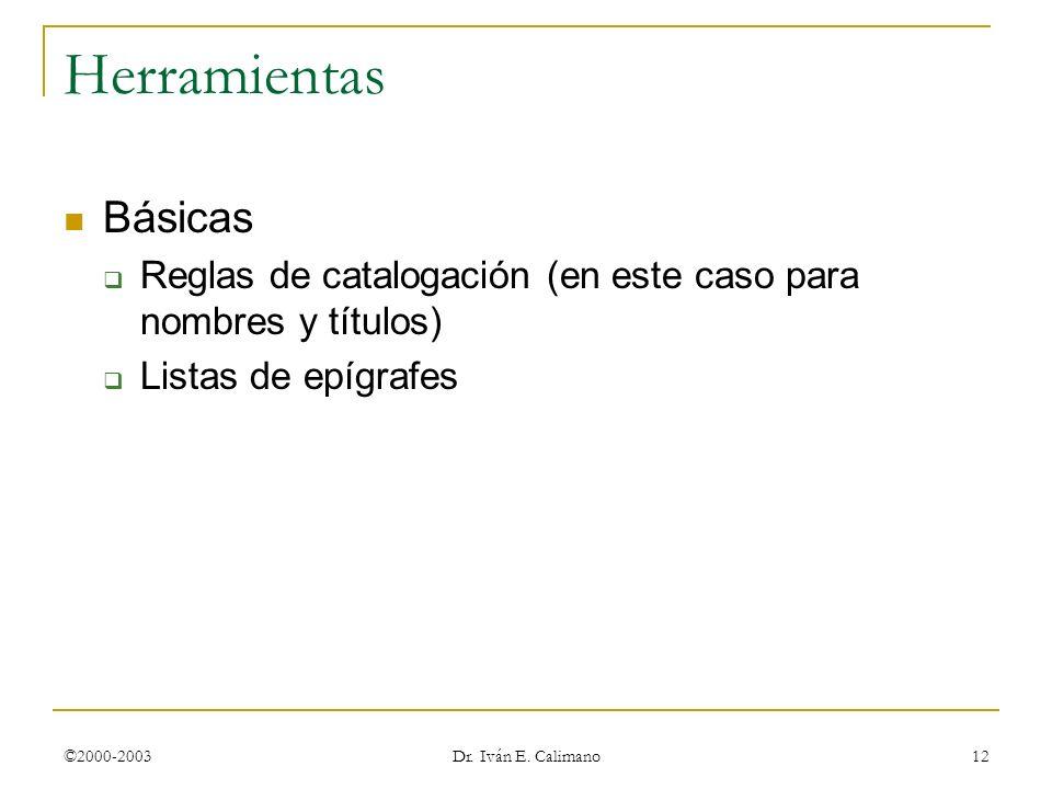 ©2000-2003 Dr. Iván E. Calimano 12 Herramientas Básicas Reglas de catalogación (en este caso para nombres y títulos) Listas de epígrafes