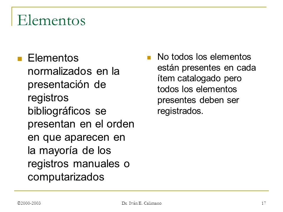 ©2000-2003 Dr. Iván E. Calimano 17 Elementos Elementos normalizados en la presentación de registros bibliográficos se presentan en el orden en que apa