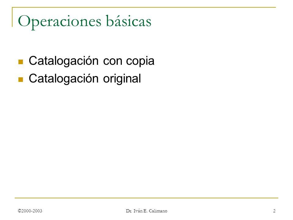 ©2000-2003 Dr. Iván E. Calimano 2 Operaciones básicas Catalogación con copia Catalogación original