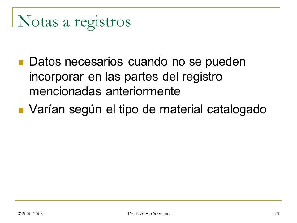 ©2000-2003 Dr. Iván E. Calimano 23 Notas a registros Datos necesarios cuando no se pueden incorporar en las partes del registro mencionadas anteriorme