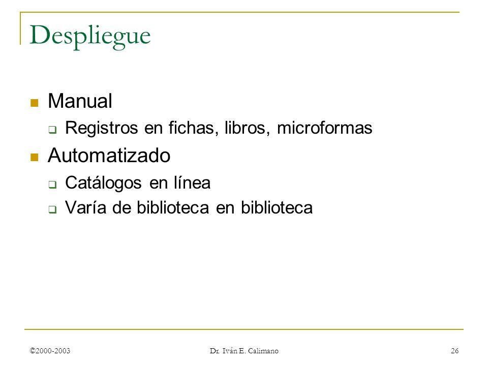 ©2000-2003 Dr. Iván E. Calimano 26 Despliegue Manual Registros en fichas, libros, microformas Automatizado Catálogos en línea Varía de biblioteca en b