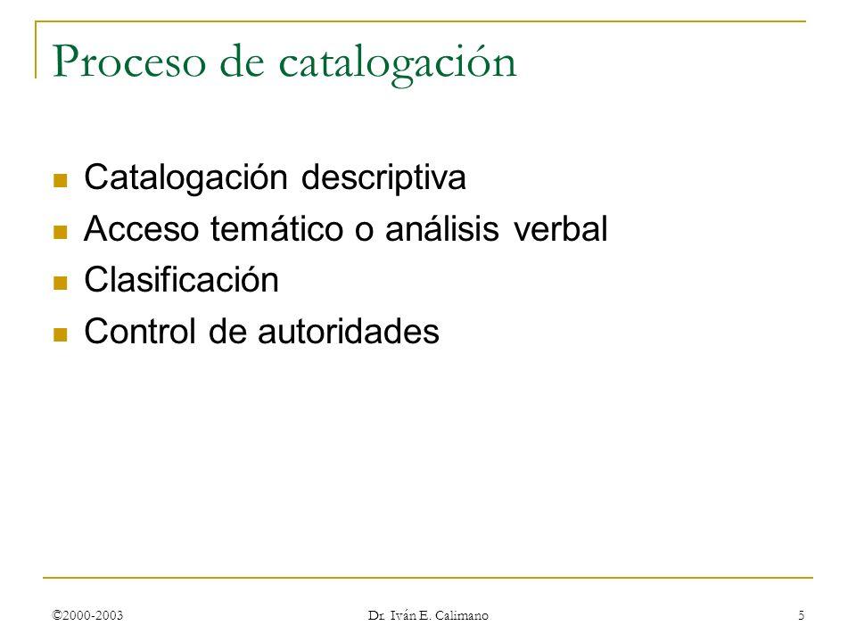 ©2000-2003 Dr. Iván E. Calimano 5 Proceso de catalogación Catalogación descriptiva Acceso temático o análisis verbal Clasificación Control de autorida
