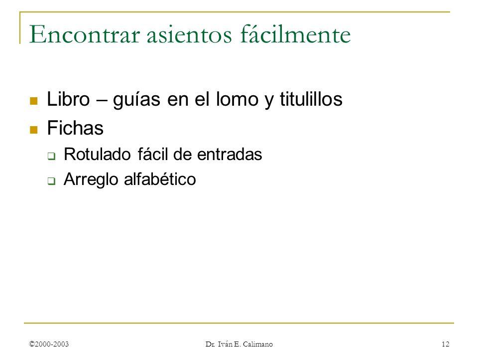 ©2000-2003 Dr. Iván E. Calimano 12 Encontrar asientos fácilmente Libro – guías en el lomo y titulillos Fichas Rotulado fácil de entradas Arreglo alfab
