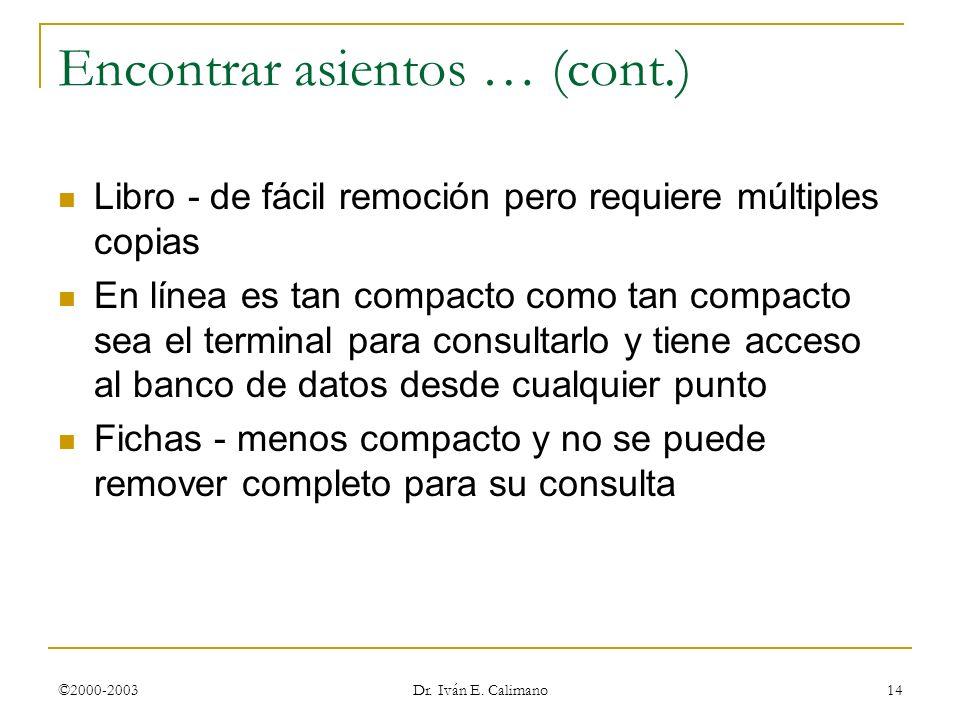 ©2000-2003 Dr. Iván E. Calimano 14 Encontrar asientos … (cont.) Libro - de fácil remoción pero requiere múltiples copias En línea es tan compacto como