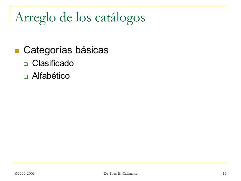 ©2000-2003 Dr. Iván E. Calimano 16 Arreglo de los catálogos Categorías básicas Clasificado Alfabético