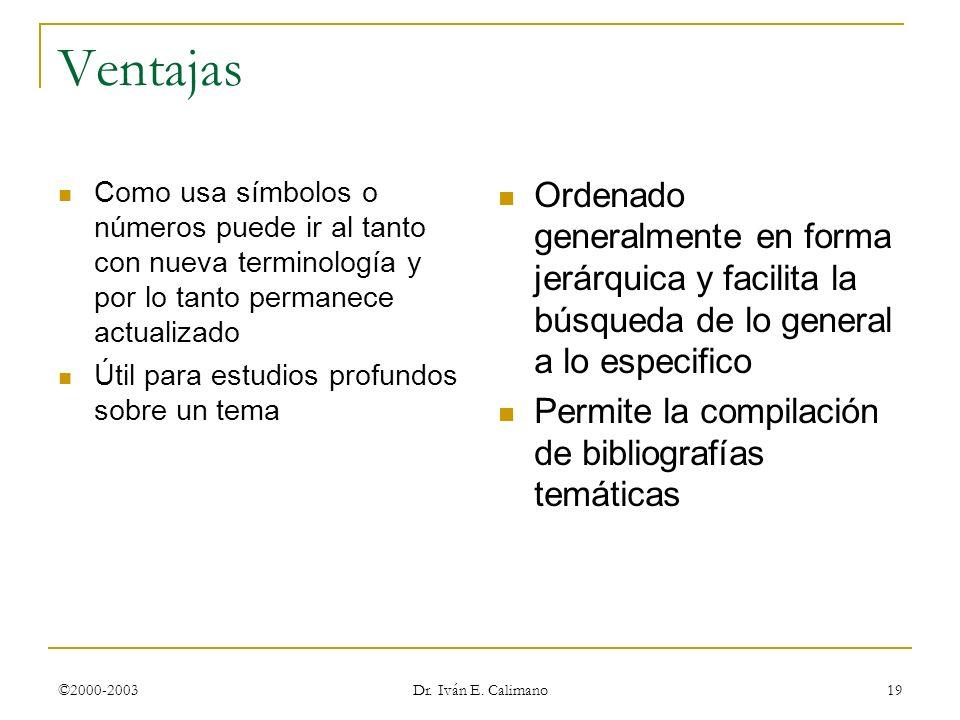 ©2000-2003 Dr. Iván E. Calimano 19 Ventajas Como usa símbolos o números puede ir al tanto con nueva terminología y por lo tanto permanece actualizado