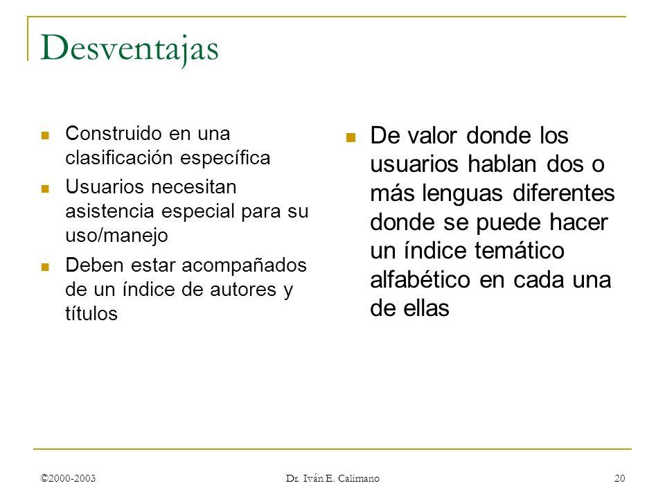 ©2000-2003 Dr. Iván E. Calimano 20 Desventajas Construido en una clasificación específica Usuarios necesitan asistencia especial para su uso/manejo De