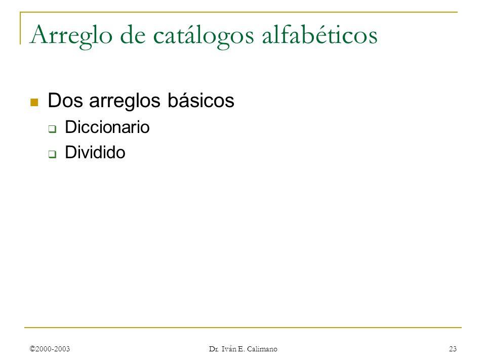 ©2000-2003 Dr. Iván E. Calimano 23 Arreglo de catálogos alfabéticos Dos arreglos básicos Diccionario Dividido