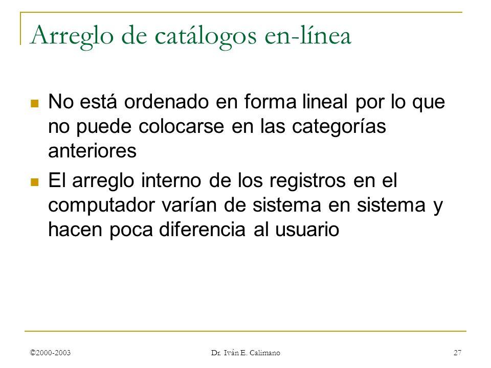 ©2000-2003 Dr. Iván E. Calimano 27 Arreglo de catálogos en-línea No está ordenado en forma lineal por lo que no puede colocarse en las categorías ante