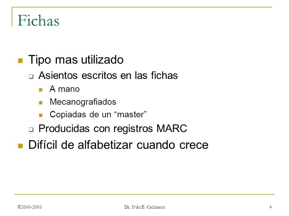 ©2000-2003 Dr. Iván E. Calimano 4 Fichas Tipo mas utilizado Asientos escritos en las fichas A mano Mecanografiados Copiadas de un master Producidas co