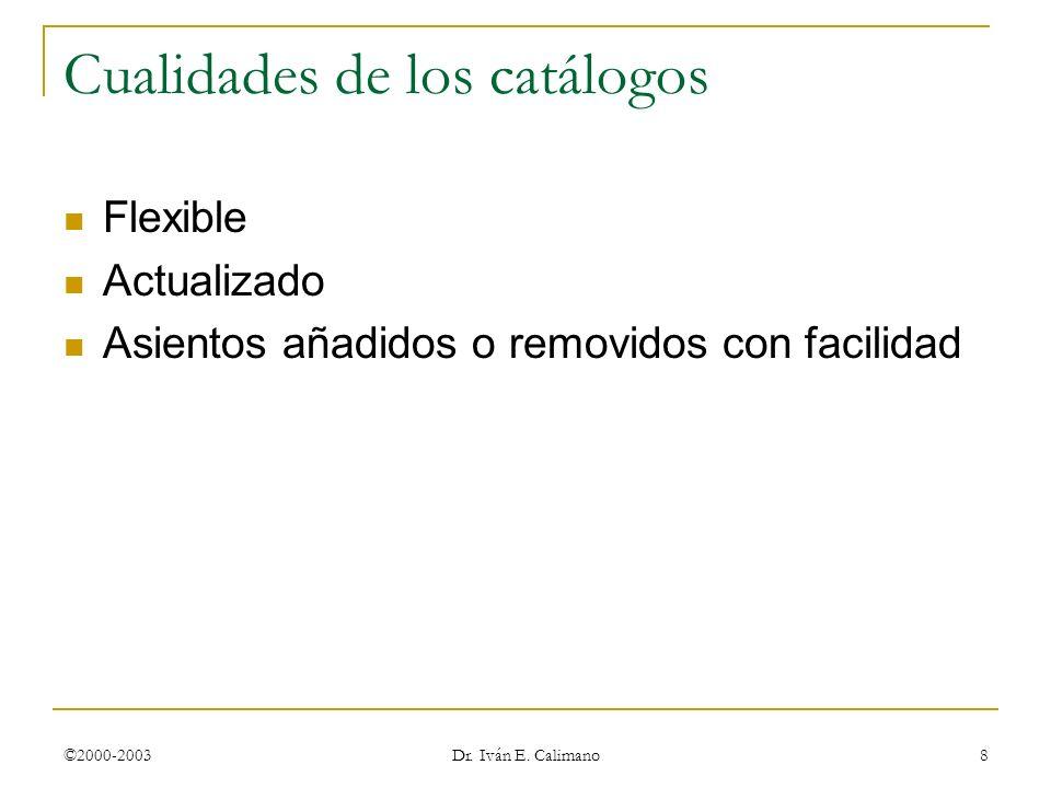 ©2000-2003 Dr. Iván E. Calimano 8 Cualidades de los catálogos Flexible Actualizado Asientos añadidos o removidos con facilidad