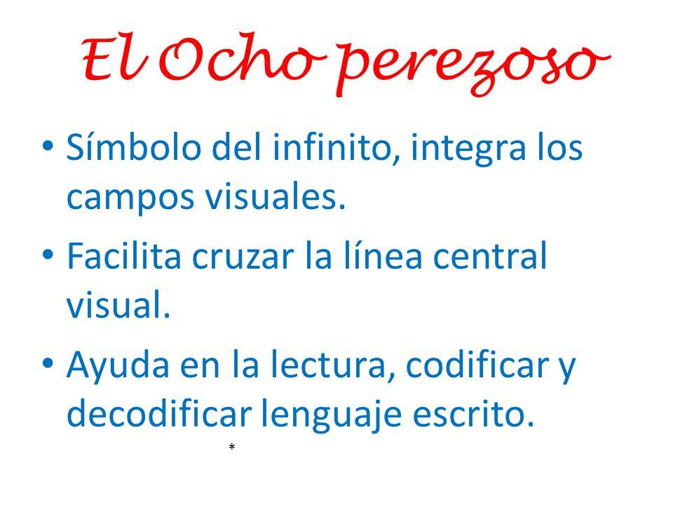 El Ocho perezoso Símbolo del infinito, integra los campos visuales. Facilita cruzar la línea central visual. Ayuda en la lectura, codificar y decodifi