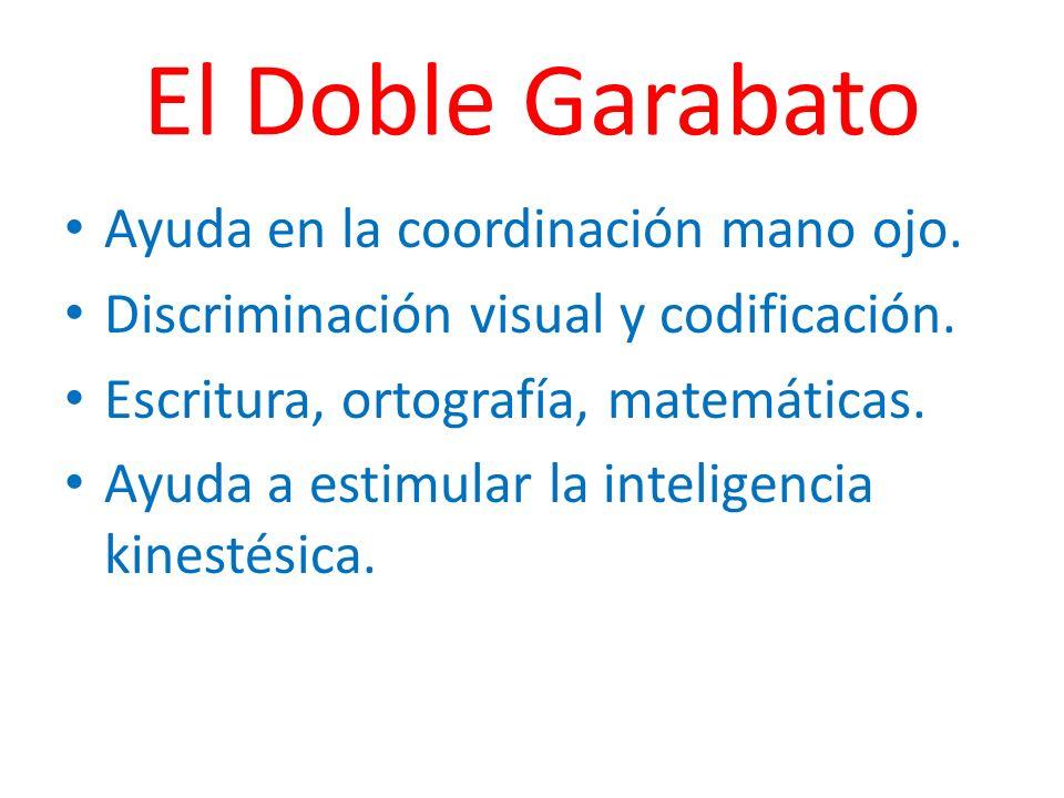 El Doble Garabato Ayuda en la coordinación mano ojo. Discriminación visual y codificación. Escritura, ortografía, matemáticas. Ayuda a estimular la in
