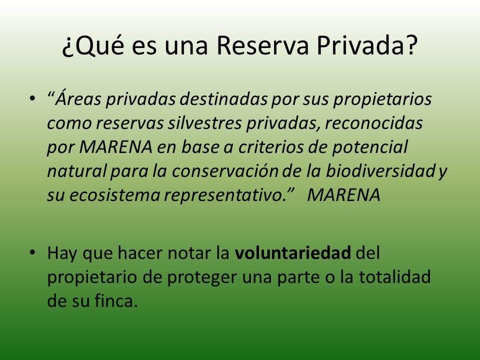 ¿Qué es una Reserva Privada? Áreas privadas destinadas por sus propietarios como reservas silvestres privadas, reconocidas por MARENA en base a criter