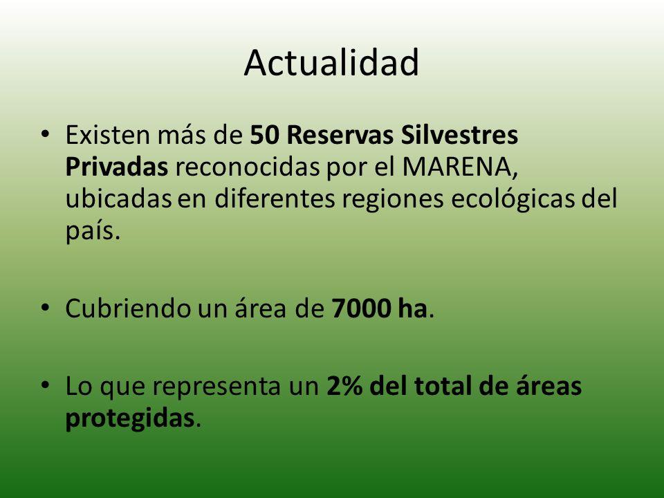Actualidad Existen más de 50 Reservas Silvestres Privadas reconocidas por el MARENA, ubicadas en diferentes regiones ecológicas del país. Cubriendo un