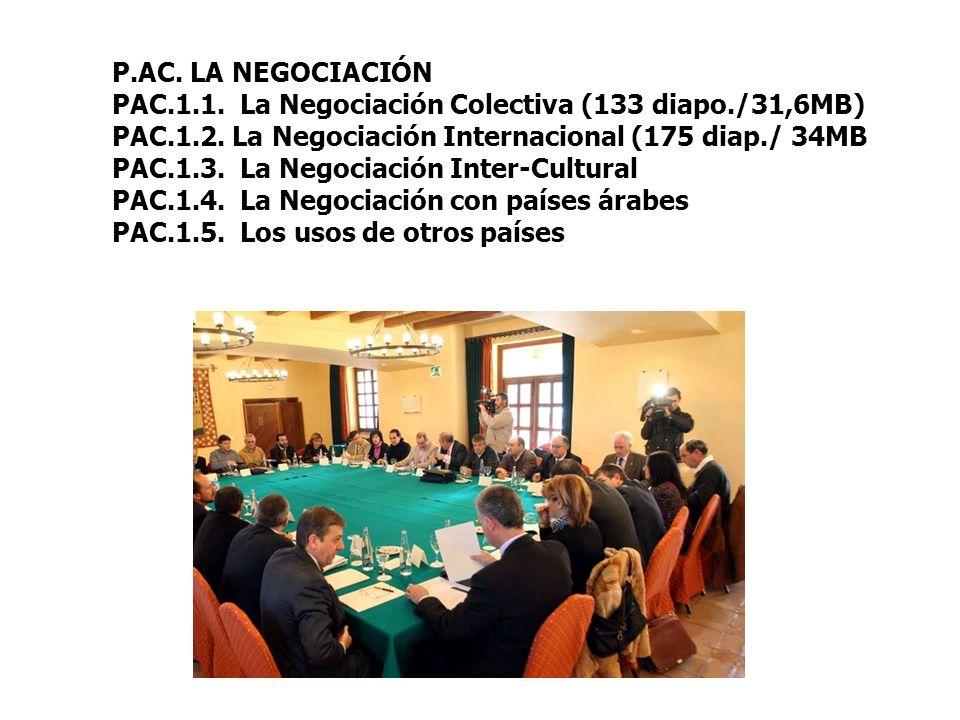 P.AC. LA NEGOCIACIÓN PAC.1.1. La Negociación Colectiva (133 diapo./31,6MB) PAC.1.2. La Negociación Internacional (175 diap./ 34MB PAC.1.3. La Negociac