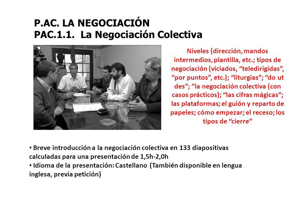 P.AC. LA NEGOCIACIÓN PAC.1.1. La Negociación Colectiva Niveles (dirección, mandos intermedios, plantilla, etc.; tipos de negociación (viciados, teledi