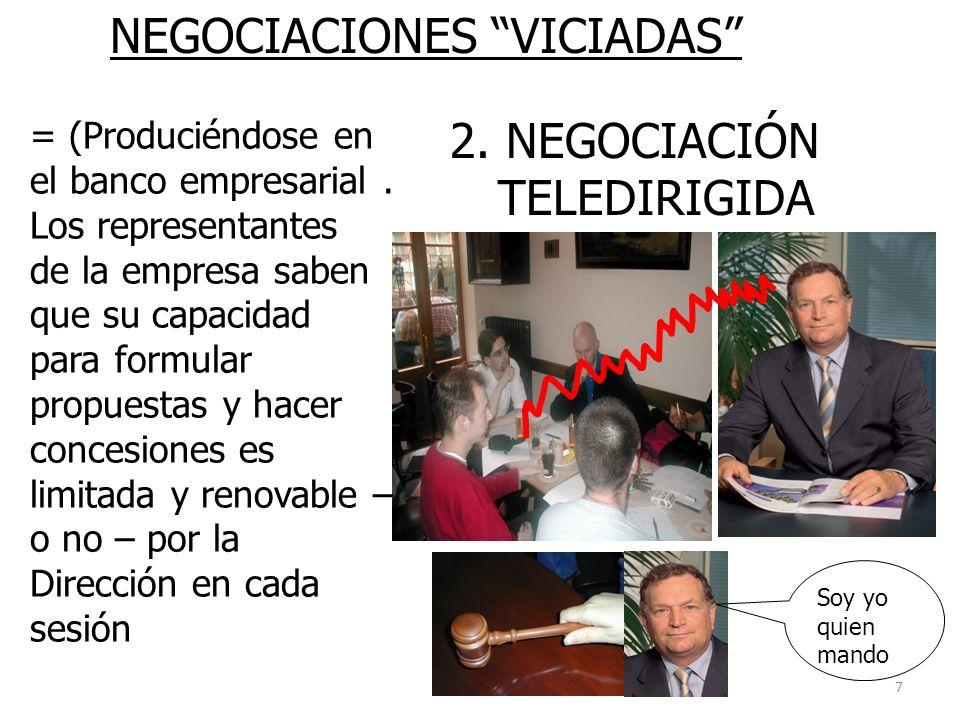 7 NEGOCIACIONES VICIADAS 2. NEGOCIACIÓN TELEDIRIGIDA = (Produciéndose en el banco empresarial. Los representantes de la empresa saben que su capacidad