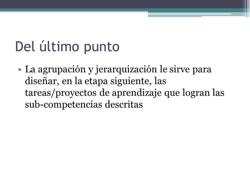 Del último punto La agrupación y jerarquización le sirve para diseñar, en la etapa siguiente, las tareas/proyectos de aprendizaje que logran las sub-c