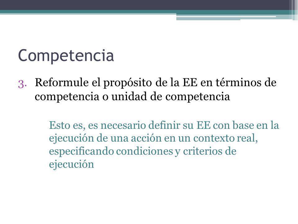 Competencia 3.Reformule el propósito de la EE en términos de competencia o unidad de competencia Esto es, es necesario definir su EE con base en la ej