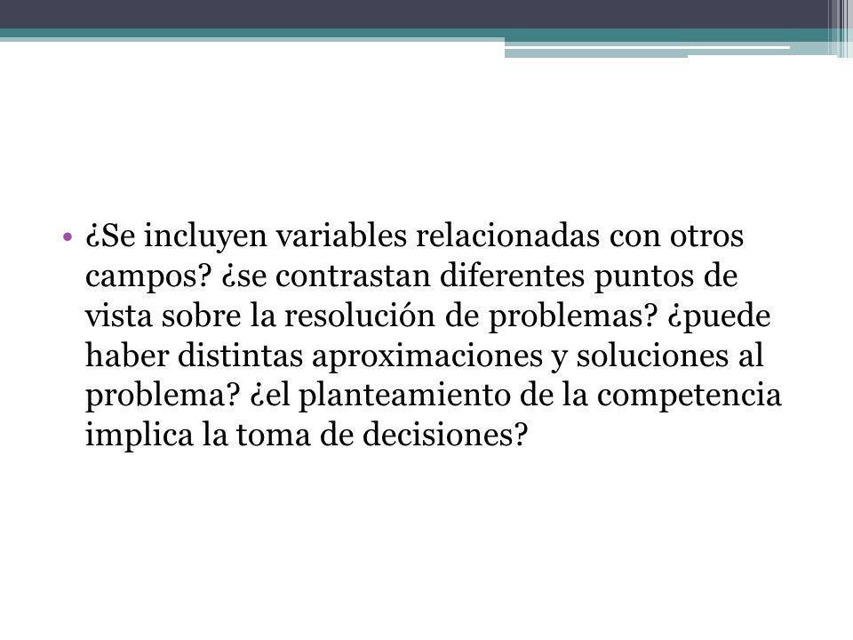 ¿Se incluyen variables relacionadas con otros campos? ¿se contrastan diferentes puntos de vista sobre la resolución de problemas? ¿puede haber distint