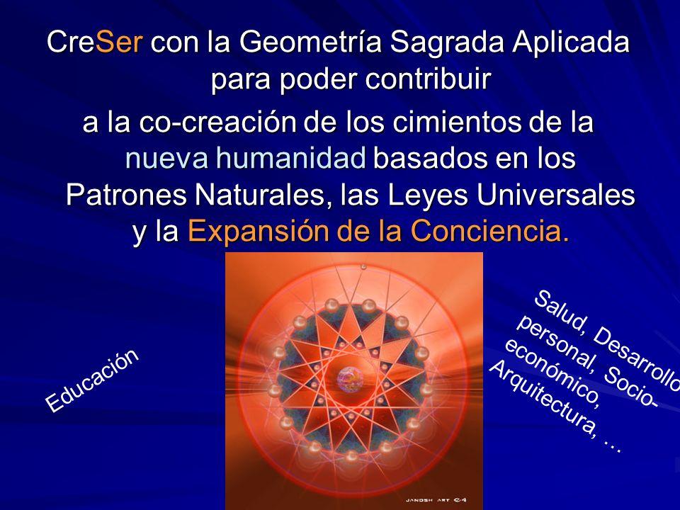 CreSer con la Geometría Sagrada Aplicada para poder contribuir a la co-creación de los cimientos de la nueva humanidad basados en los Patrones Naturales, las Leyes Universales y la Expansión de la Conciencia.