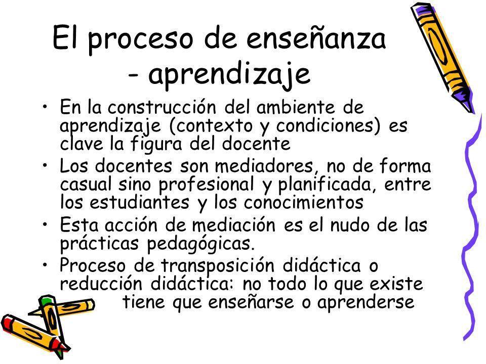 El proceso de enseñanza - aprendizaje En la construcción del ambiente de aprendizaje (contexto y condiciones) es clave la figura del docente Los docen