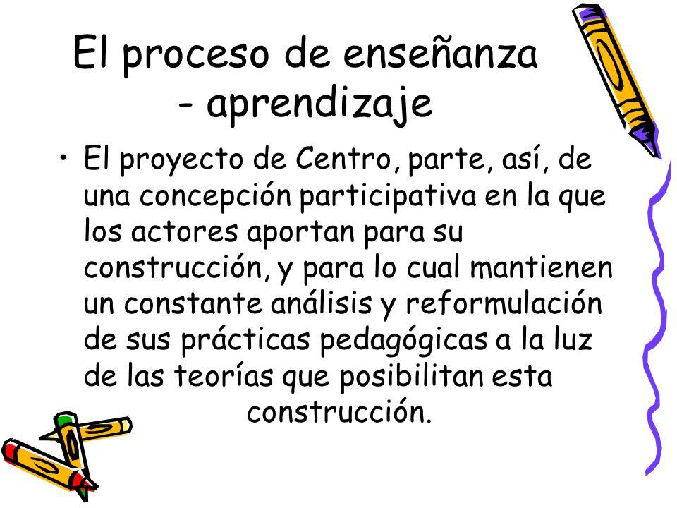 El proceso de enseñanza - aprendizaje El proyecto de Centro, parte, así, de una concepción participativa en la que los actores aportan para su constru