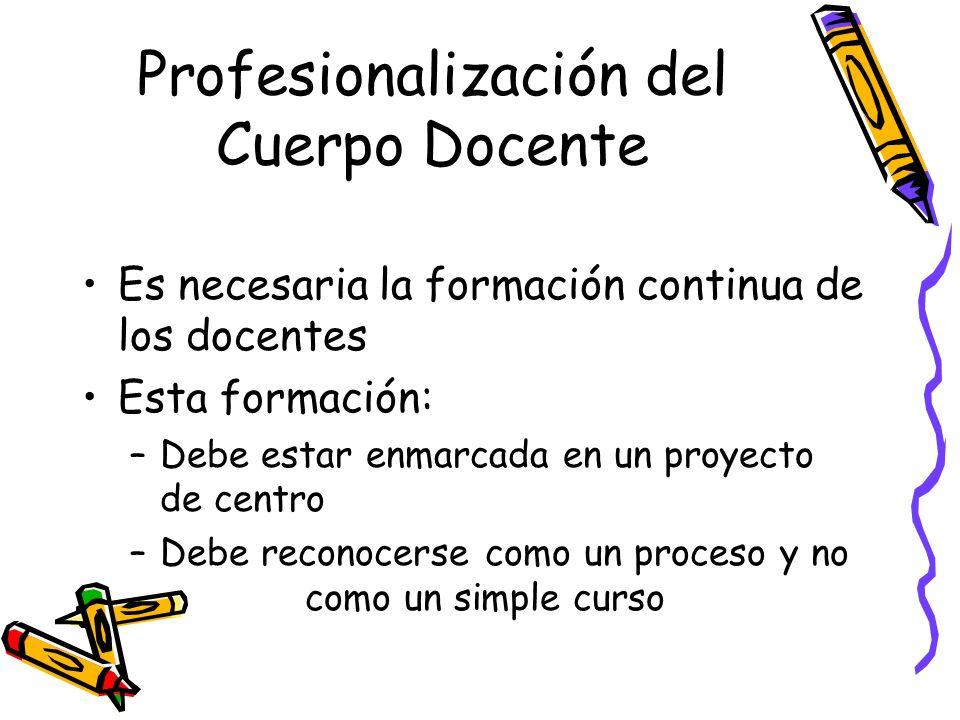 Profesionalización del Cuerpo Docente Es necesaria la formación continua de los docentes Esta formación: –Debe estar enmarcada en un proyecto de centr