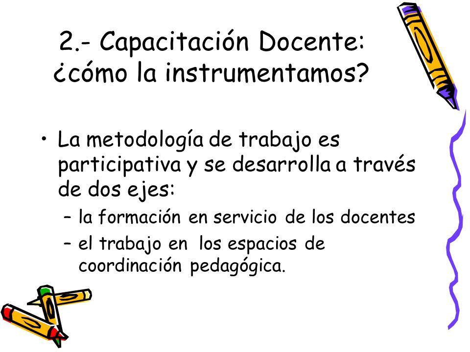 2.- Capacitación Docente: ¿cómo la instrumentamos? La metodología de trabajo es participativa y se desarrolla a través de dos ejes: –la formación en s
