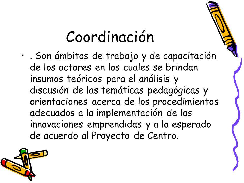 Coordinación. Son ámbitos de trabajo y de capacitación de los actores en los cuales se brindan insumos teóricos para el análisis y discusión de las te