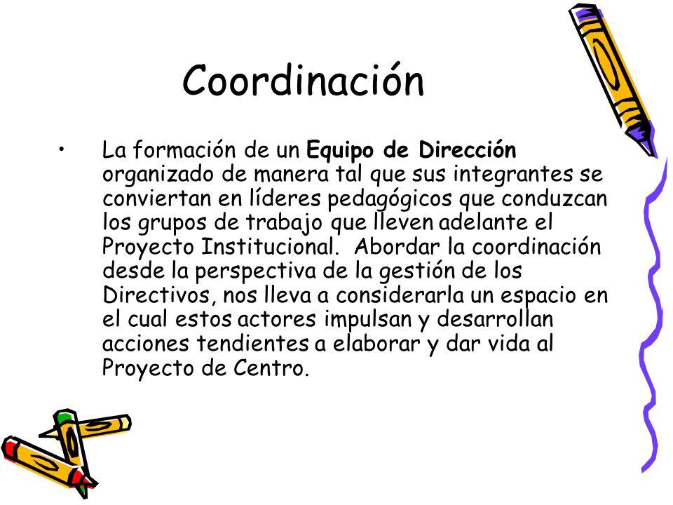 Coordinación La formación de un Equipo de Dirección organizado de manera tal que sus integrantes se conviertan en líderes pedagógicos que conduzcan lo
