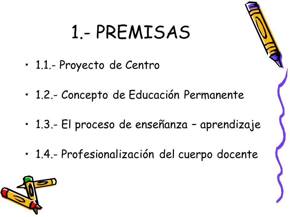 1.- PREMISAS 1.1.- Proyecto de Centro 1.2.- Concepto de Educación Permanente 1.3.- El proceso de enseñanza – aprendizaje 1.4.- Profesionalización del