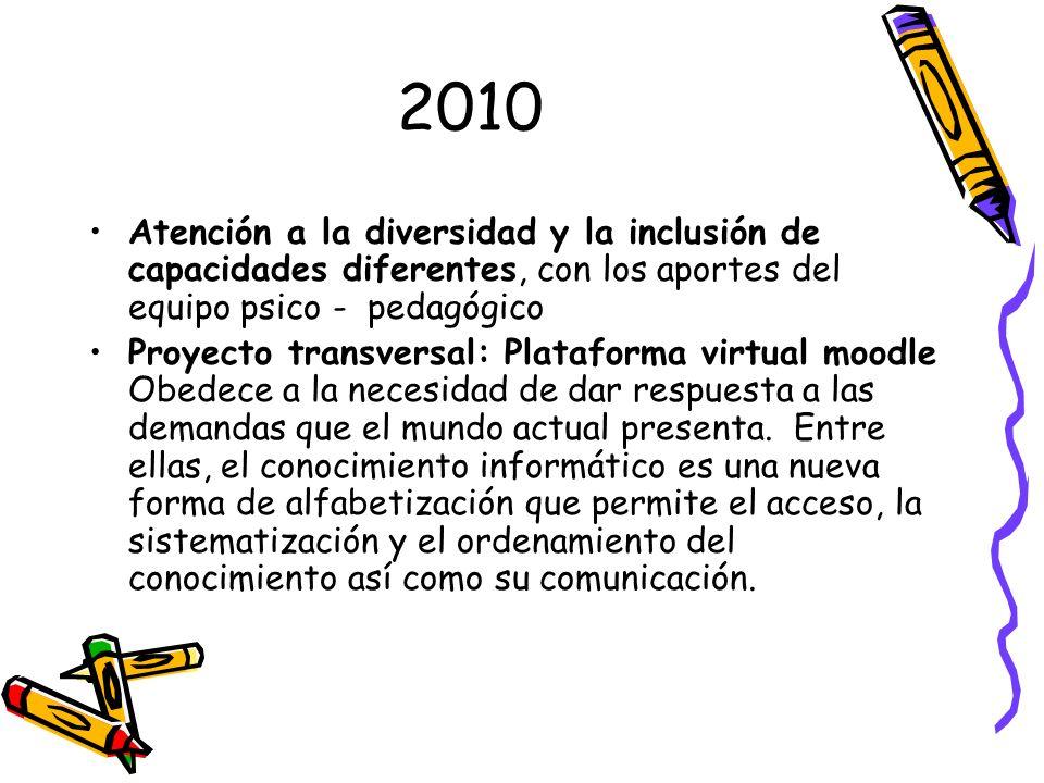 2010 Atención a la diversidad y la inclusión de capacidades diferentes, con los aportes del equipo psico - pedagógico Proyecto transversal: Plataforma