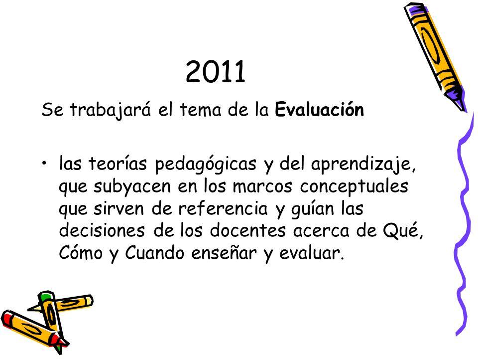 2011 Se trabajará el tema de la Evaluación las teorías pedagógicas y del aprendizaje, que subyacen en los marcos conceptuales que sirven de referencia