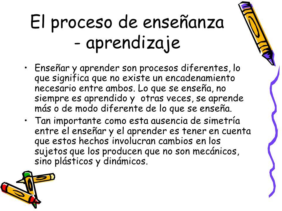 El proceso de enseñanza - aprendizaje Enseñar y aprender son procesos diferentes, lo que significa que no existe un encadenamiento necesario entre amb
