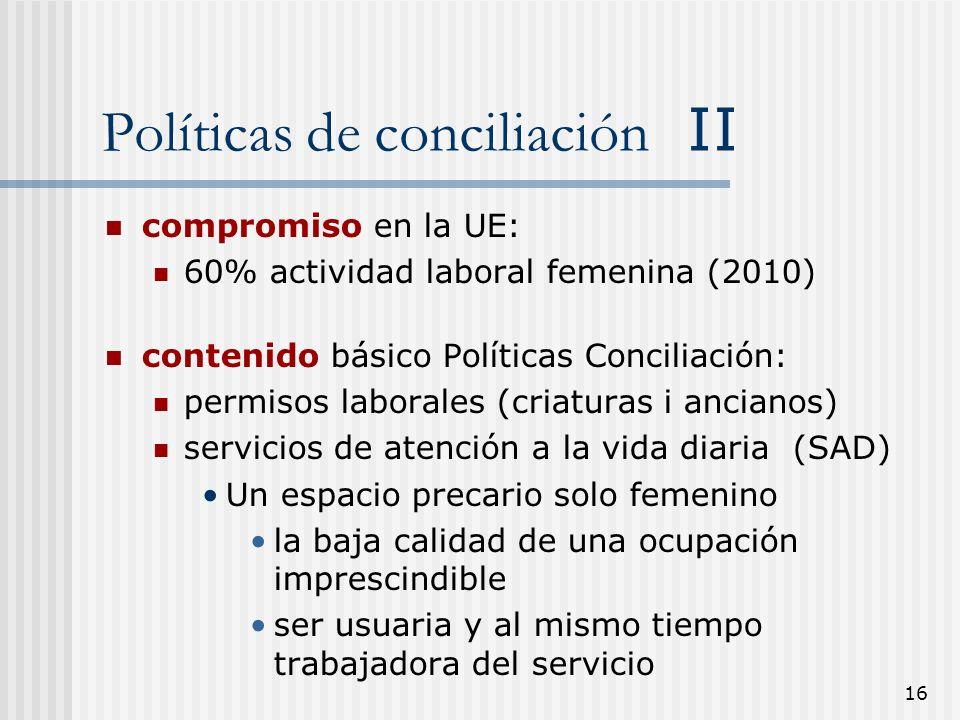 16 Políticas de conciliación II compromiso en la UE: 60% actividad laboral femenina (2010) contenido básico Políticas Conciliación: permisos laborales