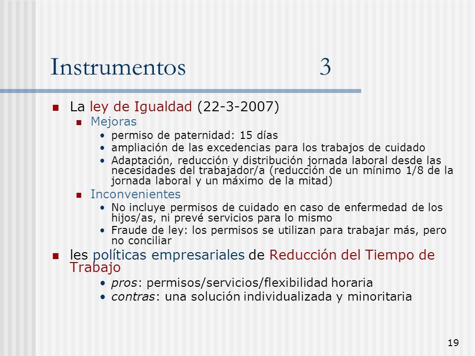 19 Instrumentos 3 La ley de Igualdad (22-3-2007) Mejoras permiso de paternidad: 15 días ampliación de las excedencias para los trabajos de cuidado Ada