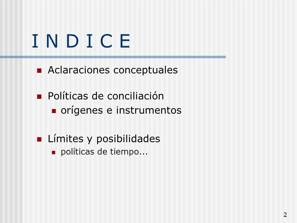 2 I N D I C E Aclaraciones conceptuales Políticas de conciliación orígenes e instrumentos Límites y posibilidades políticas de tiempo...