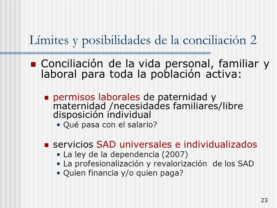 23 Límites y posibilidades de la conciliación 2 Conciliación de la vida personal, familiar y laboral para toda la población activa: permisos laborales
