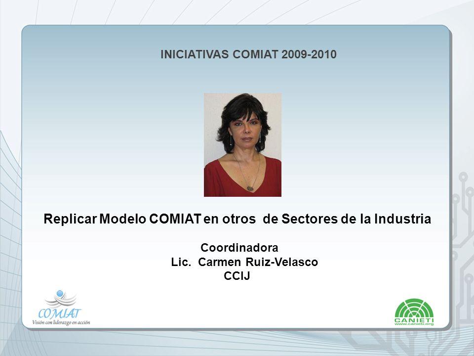 INICIATIVAS COMIAT 2009-2010 Replicar Modelo COMIAT en otros de Sectores de la Industria Coordinadora Lic.