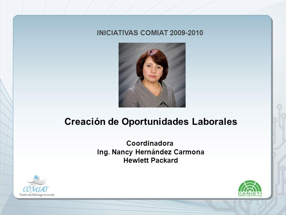 INICIATIVAS COMIAT 2009-2010 Creación de Oportunidades Laborales Coordinadora Ing.