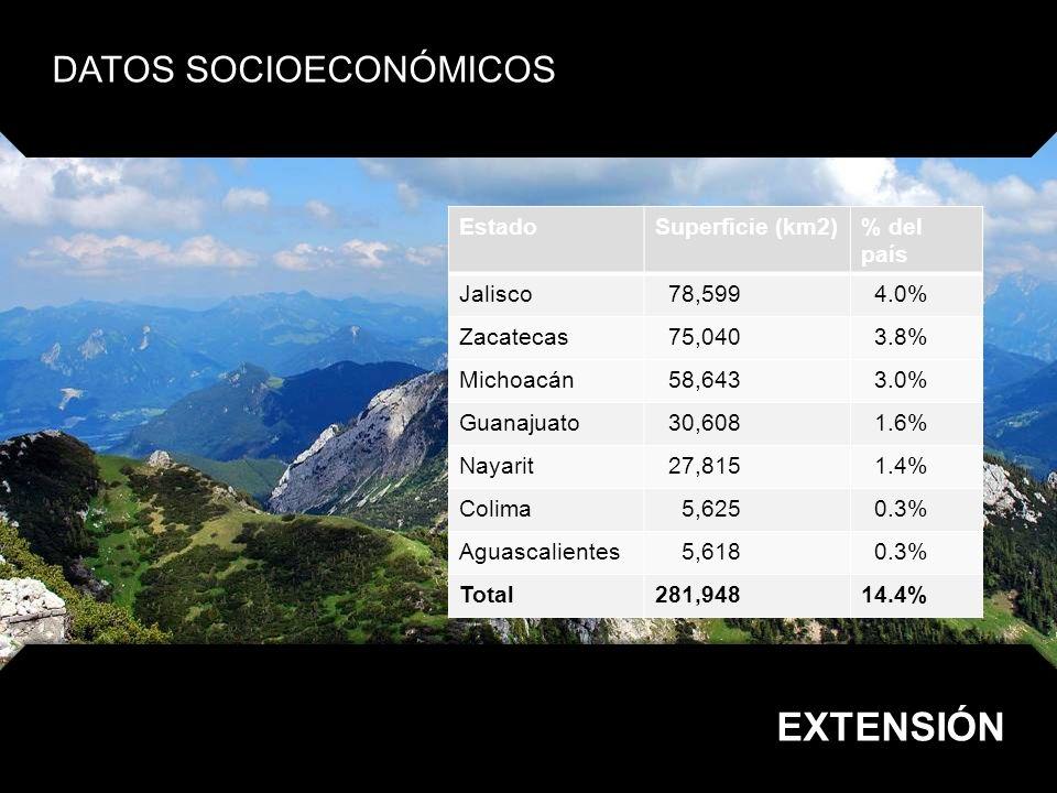 DATOS SOCIOECONÓMICOS POBLACIÓN EstadoHabitantes% del país Jalisco 6´752,113 6.5% Guanajuato 4´893,812 4.7% Michoacán 3´966,073 3.8% Zacatecas 1´367,692 1.3% Aguascalientes 1´065,416 1.0% Nayarit 949,684 0.9% Colima 567,996 0.6% Total18´195,09418.8%