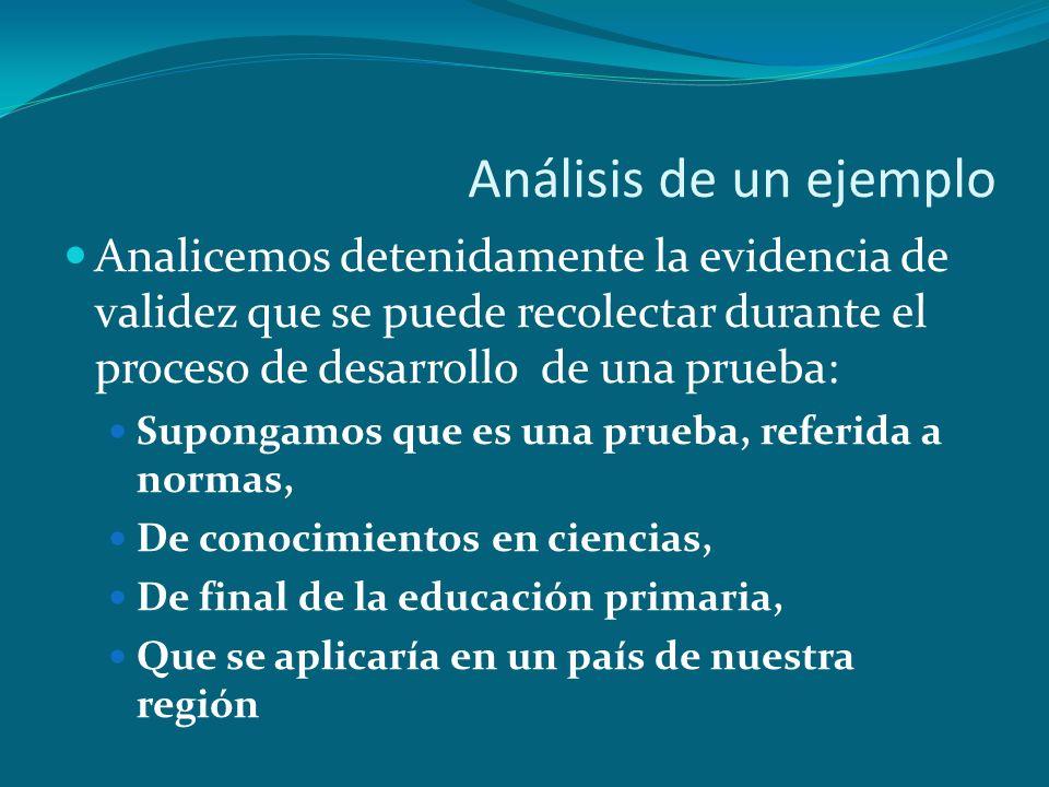 Análisis de un ejemplo Analicemos detenidamente la evidencia de validez que se puede recolectar durante el proceso de desarrollo de una prueba: Supong