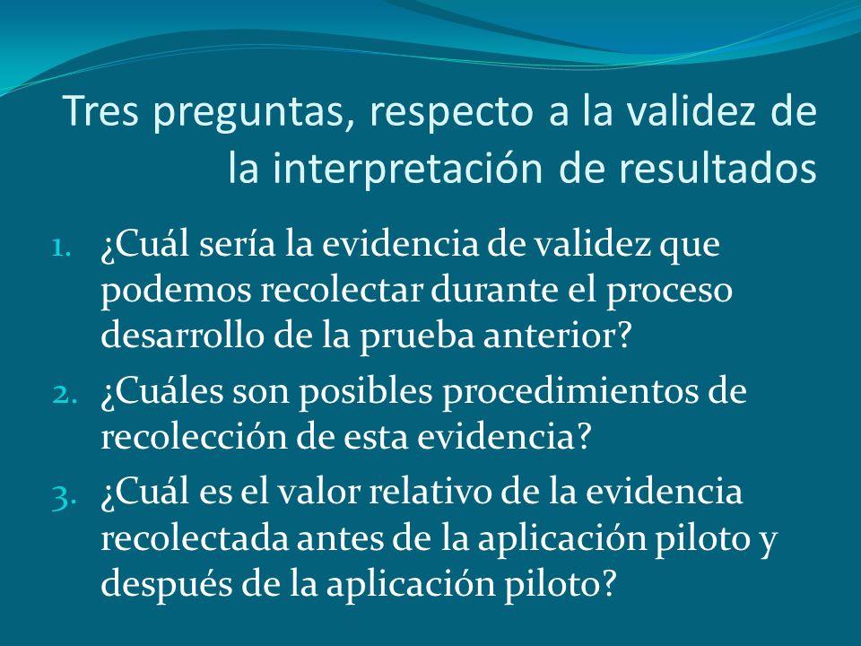 Tres preguntas, respecto a la validez de la interpretación de resultados 1. ¿Cuál sería la evidencia de validez que podemos recolectar durante el proc