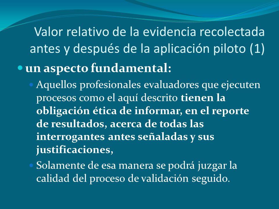 Valor relativo de la evidencia recolectada antes y después de la aplicación piloto (1) un aspecto fundamental: Aquellos profesionales evaluadores que