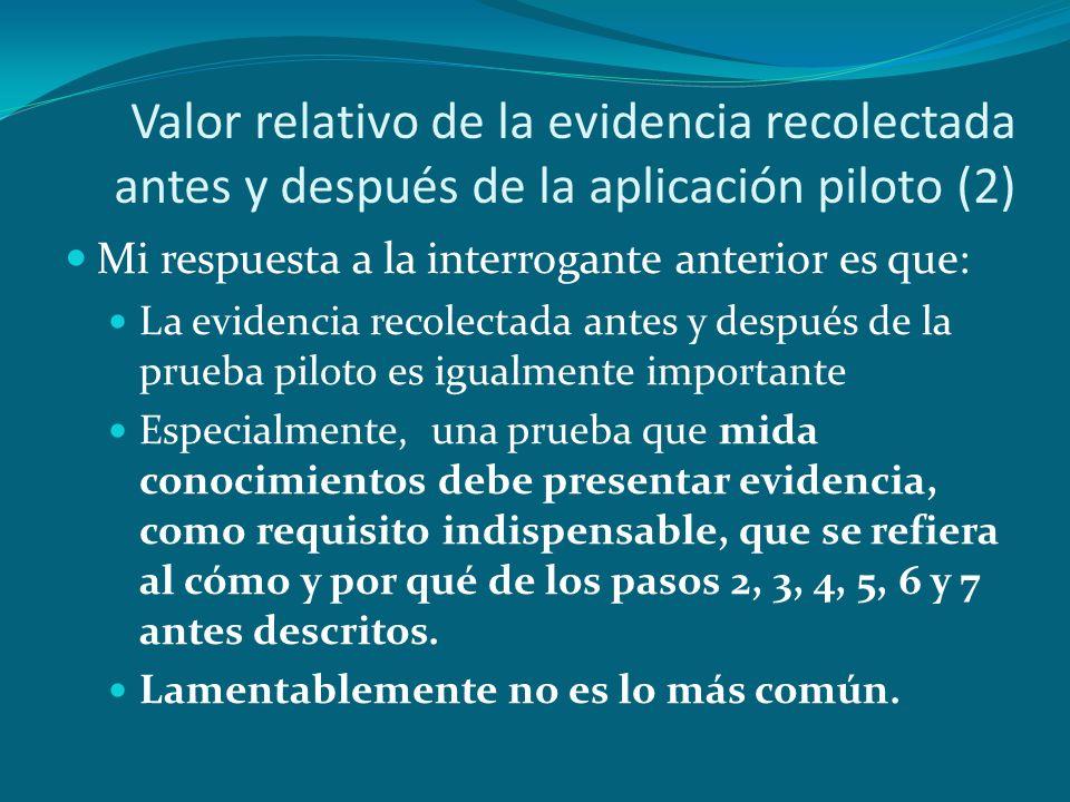 Valor relativo de la evidencia recolectada antes y después de la aplicación piloto (2) Mi respuesta a la interrogante anterior es que: La evidencia re