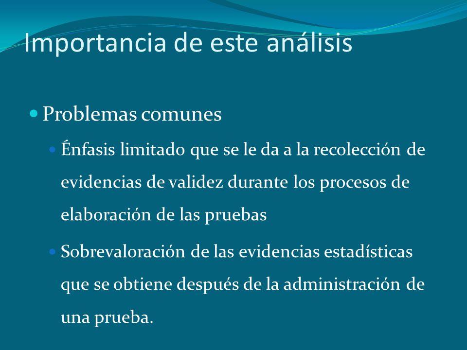 Importancia de este análisis Problemas comunes Énfasis limitado que se le da a la recolección de evidencias de validez durante los procesos de elabora