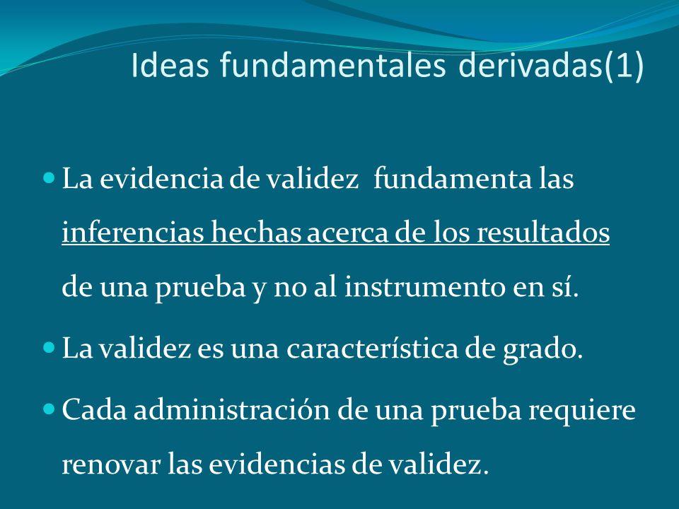 Ideas fundamentales derivadas(1) La evidencia de validez fundamenta las inferencias hechas acerca de los resultados de una prueba y no al instrumento